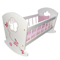 Wooden doll bed - white / pink