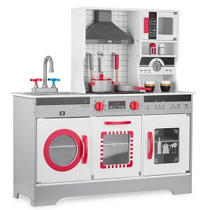Wooden play kitchen with accessories, light and sound - gray / white / red