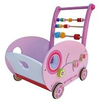 Lauflernwagen ROSA Lauflernhilfe Holz Baby Walker Laufwagen Gehfrei Puppenwagen