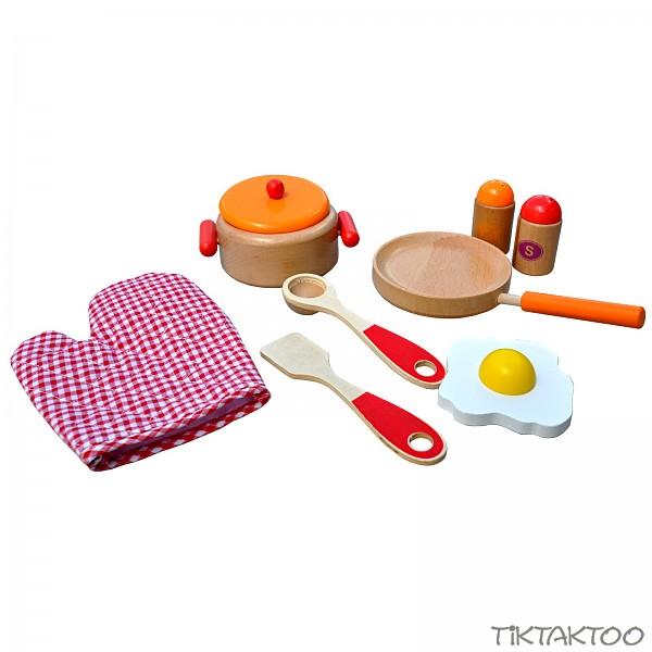 holz kochset f r kinder rot orange natur pfanne kochtopf. Black Bedroom Furniture Sets. Home Design Ideas