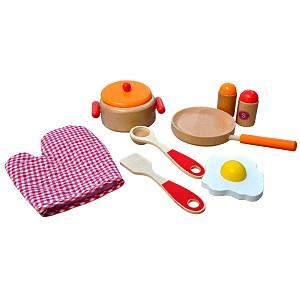Kitchen set for children red-orange-natural frying pan cooking pot wooden set