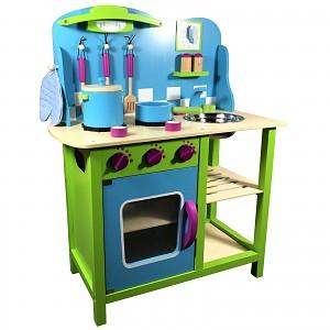 Kinderküche Holz Spielküche Kinderspielküche Spielzeugküche Holzküche Küche blau a