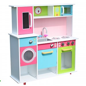 XXL play kitchen children's kitchen made of wood, white / colored