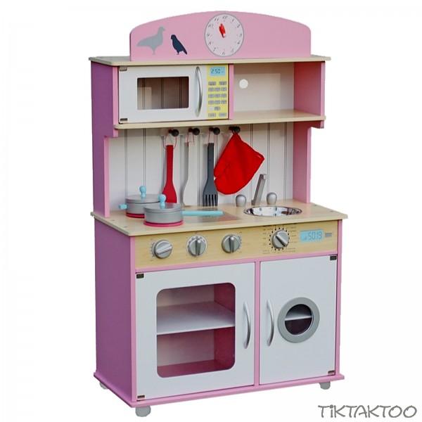 Spielküche Kinderküche aus Holz ~pink ~ natur ~ weiss ~ mit Zubehör ...