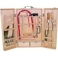 Laubsäge Laubsägearbeiten Werkzeug Koffer Werkzeugkoffer Holzkoffer 24.tlg Kinder