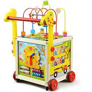 Baby walker wooden walking aid Motor skills cube Baby walker walking aid