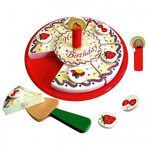 Kaufladen Geburtstagstorte aus Holz zum Teilen Zubehör Kaufmannsladen Spielküche