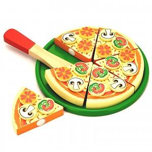 Schneide Pizza aus Holz zum Teilen Tablett Kaufladenzubehör Kinderche Zubehör