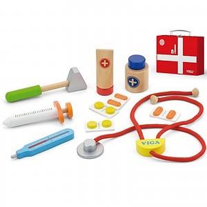 Arztkoffer Doktorkoffer für Kinder mit Inhalt aus Holz Puppendoktor 11 teilig