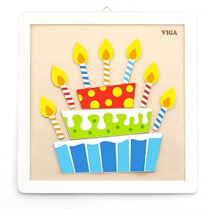 Wooden puzzle paint coloring set cake for children from 3 years coloring picture birthday