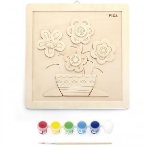 Holzpuzzle bemalen Mal Set Blumen für Kinder ab 3 Jahre Ausmalbild Geburtstag