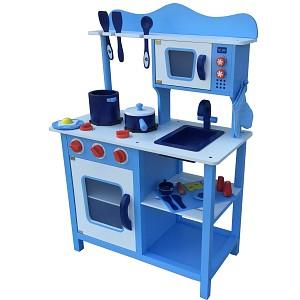 Hellblaue Kinderküche Spielküche aus Holz Kinderspielküche Spielzeugküche Holzküch