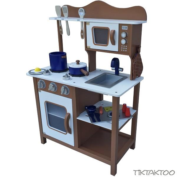 Braune kinderkuche spielkuche aus holz kinderspielkuche for Spielküche holz