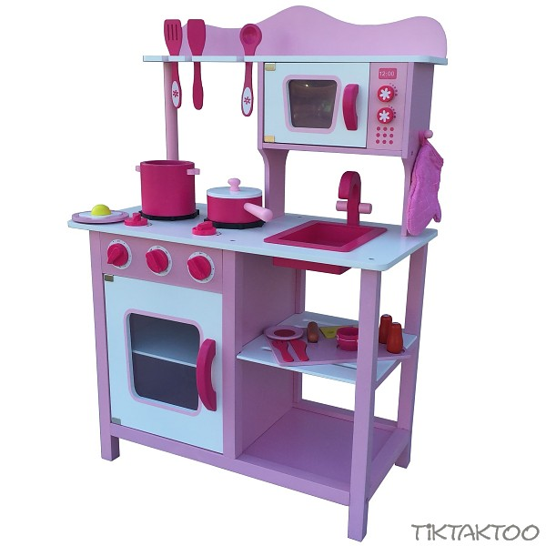 Pink rosa kinderkuche spielkuche aus holz kinderspielkuche for Spielküche holz