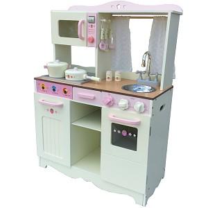 XXL Kinderküche crema Spielküche aus Holz Kinderspielküche im Vintage-Look