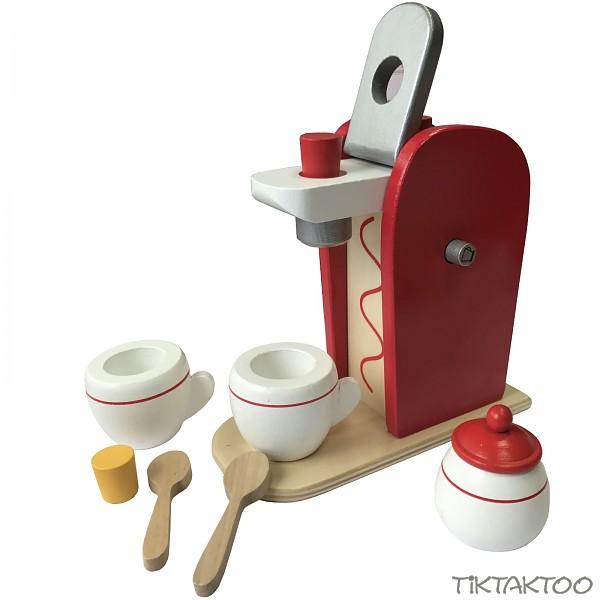 kaffeemaschine holz spielzeug 9 teilig kaufladen kinderk che spielk che zubeh r tiktaktoo. Black Bedroom Furniture Sets. Home Design Ideas