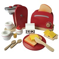 Children kitchen set - coffee machine and toaster consisting of wood red