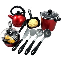 Cooking set pots, water kettle and pan with accessories, 13-piece set for the game