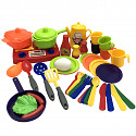 small play kitchen including pots and pans for dolls