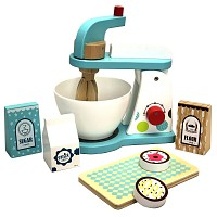 Food processor mixer set made of wood with accessories