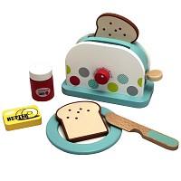 Wooden toaster with accessories for children play kitchen children's kitchen