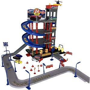 4 levels parking garage with 4 cars, helicopter & play street