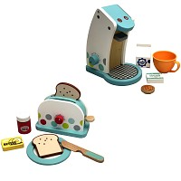 Children kitchen set - hoffe machine and toaster consisting of wood white/colorful