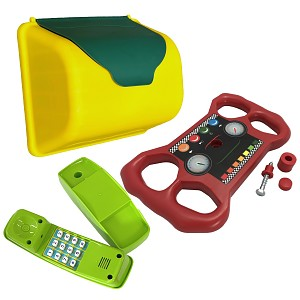 XXL accessory set for play tower, letterbox, telephone & steering wheel, mobile phone, steering wheel post
