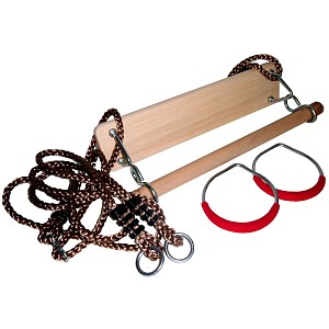 Gymnastics Set of 3: Swing Seat, Gymnastic Rings and Wooden Trapeze