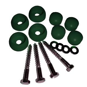 Holzschraubenset M8 x 70 verzinkt mit Abdeckkappen grün