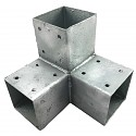 Wood connector square 3-way 90x90cm 2mm hot-dip galvanized