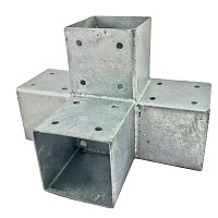 Wood connector square 4-way 90x90cm 2mm hot-dip galvanized