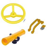 Climbing frame set steering wheel, telescope and handles yellow