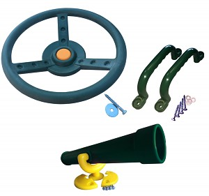 Climbing frame set steering wheel, telescope and handles green