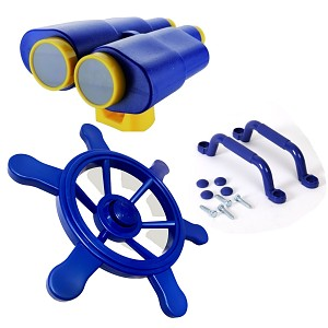 Climbing frame set, steering wheel, binoculars and handles, colored