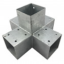 Timber connector, corner connector, post connector for 5 x square timber beams 70 x 70 mm