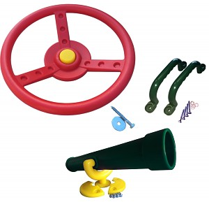 Climbing frame set, steering wheel, telescope and handles, colored