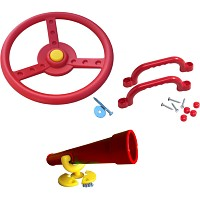 Climbing frame set steering wheel, telescope and handles red