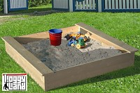 Loggyland Natural Wood Sandpit with Integral Seating