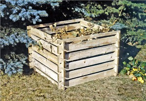 Wooden composter compost silo 120x120x70 cm -KDI- plug-in system