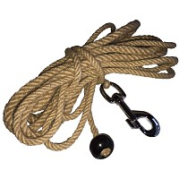 Jute skipping rope 5m with swivel snap hook