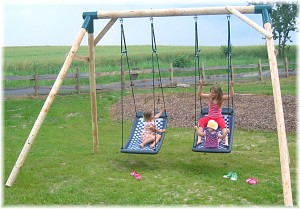 LoggyLand - Voyage swing with two standard family swings including marathon swing hooks