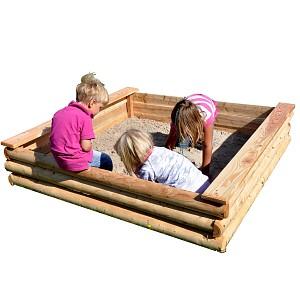 LoggyLand - Sandkasten aus Lärchenhalbpalisaden inkl. Vlies