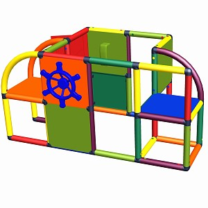Moveandstic Sven - play center with door, steeling wheel & telephone multi-colored