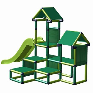 Play tower Gesa - climbing tower for toddlers with slide and fabric inserts apple-green  - green