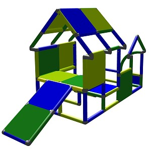 Moveandstic playhouse toddler construction kit climbing tower with baby slide green