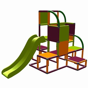 Moveandstic - Helge climbing tower orange-magenta-apple green