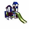Moveandstic Moritz  - play castle with slide - magenta - blue - apple-green