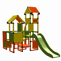 Moveandstic Moritz - play castle with slide - orange-yellow-apple green