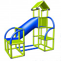 Moveandstic Felix - climbing tower with crawling tube and exit in apple green and red